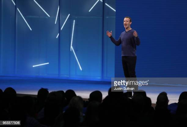Facebook CEO Mark Zuckerberg speaks during the F8 Facebook Developers conference on May 1 2018 in San Jose California Facebook CEO Mark Zuckerberg...