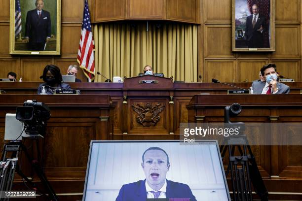 Facebook CEO Mark Zuckerberg speaks via video conference during the House Judiciary Subcommittee on Antitrust, Commercial and Administrative Law...