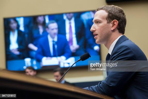Facebook CEO Mark Zuckerberg testifies before a House Energy and Commerce Committee in Rayburn Building on the protection of user data on April 11...