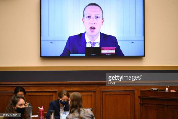Facebook CEO Mark Zuckerberg testifies before the House Judiciary Subcommittee on Antitrust Commercial and Administrative Law on Online Platforms and...
