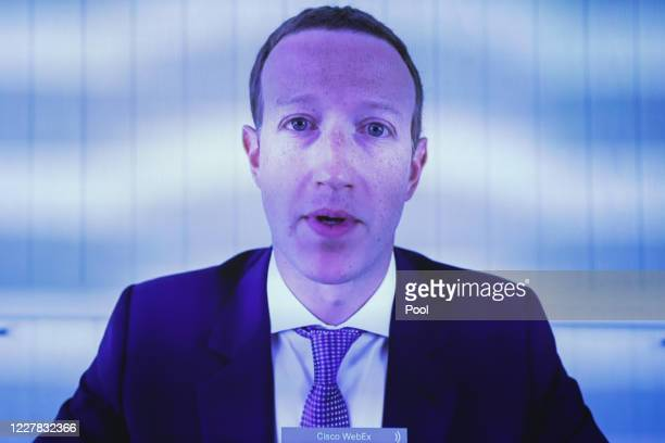 """Facebook CEO Mark Zuckerberg testifies via video conference during an Antitrust, Commercial and Administrative Law Subcommittee hearing on """"Online..."""
