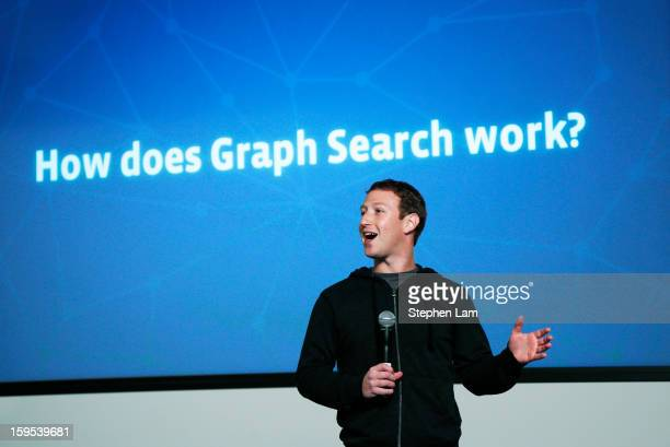 Facebook Chairman and Chief Executive Mark Zuckerberg introduces Graph Search features during a presentation January 15 2013 in Menlo Park Facebook...