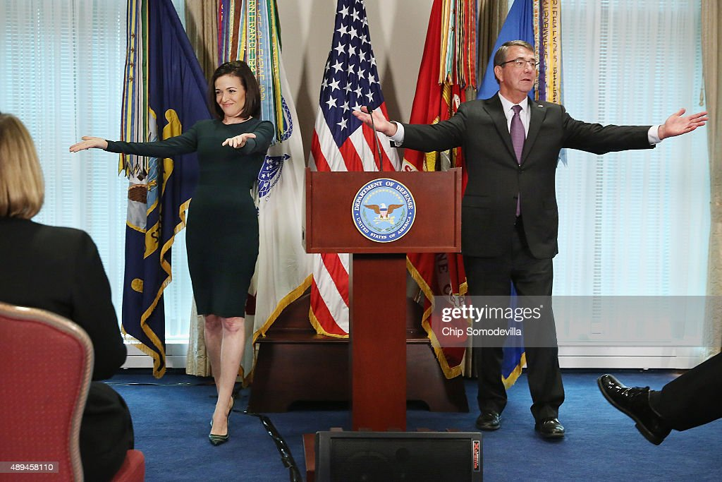 Defense Secretary Carter And Facebook COO Sheryl Sandberg Meet At Pentagon