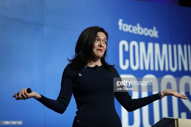 Facebook Chief Operating Officer Sheryl Sandberg speaks during a Facebook Community Boost event at the Knight Center on December 18 2018 in Miami...