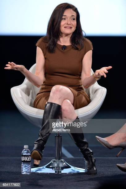 Facebook Chief Operating Officer Sheryl Sandberg speaks on stage at The 2017 MAKERS Conference at Terranea Resort and Spa on February 7 2017 in...