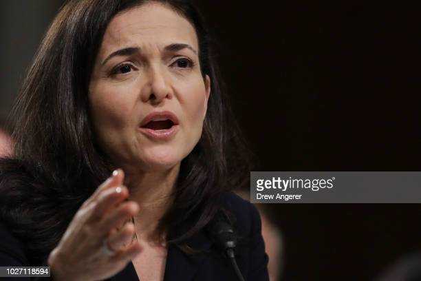 Facebook chief operating officer Sheryl Sandberg testifies during a Senate Intelligence Committee hearing concerning foreign influence operations'...