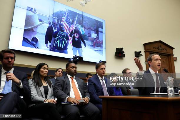 Facebook co-founder and CEO Mark Zuckerberg answers questions about hate groups' use of the social network as he testifies before the House Financial...