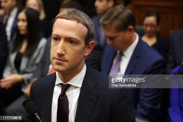 Facebook cofounder and CEO Mark Zuckerberg arrives to testify before the House Financial Services Committee in the Rayburn House Office Building on...
