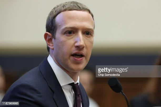 Facebook co-founder and CEO Mark Zuckerberg testifies before the House Financial Services Committee in the Rayburn House Office Building on Capitol...
