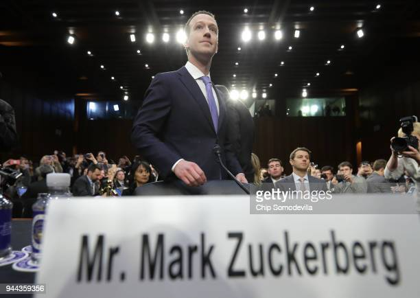 Facebook cofounder Chairman and CEO Mark Zuckerberg arrives to testify before a combined Senate Judiciary and Commerce committee hearing in the Hart...