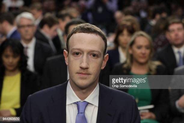 Facebook co-founder, Chairman and CEO Mark Zuckerberg arrives to testify before a combined Senate Judiciary and Commerce committee hearing in the...