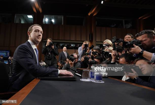 Facebook cofounder Chairman and CEO Mark Zuckerberg awaits to testify before a combined Senate Judiciary and Commerce committee hearing in the Hart...