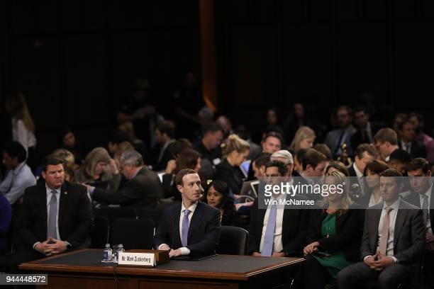 Facebook cofounder Chairman and CEO Mark Zuckerberg concludes his testimony before a combined Senate Judiciary and Commerce committee hearing in the...