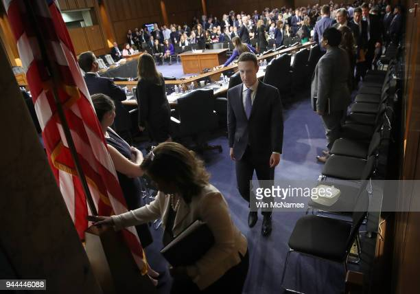 Facebook cofounder Chairman and CEO Mark Zuckerberg departs after testifying before a combined Senate Judiciary and Commerce committee hearing in the...