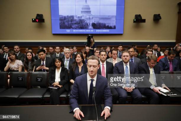 Facebook cofounder Chairman and CEO Mark Zuckerberg prepares to testify before the House Energy and Commerce Committee in the Rayburn House Office...