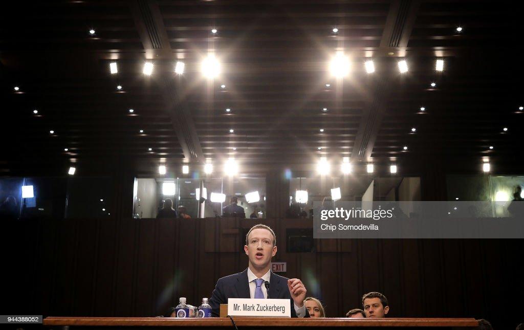 Facebook CEO Mark Zuckerberg Testifies At Joint Senate Commerce/Judiciary Hearing : News Photo