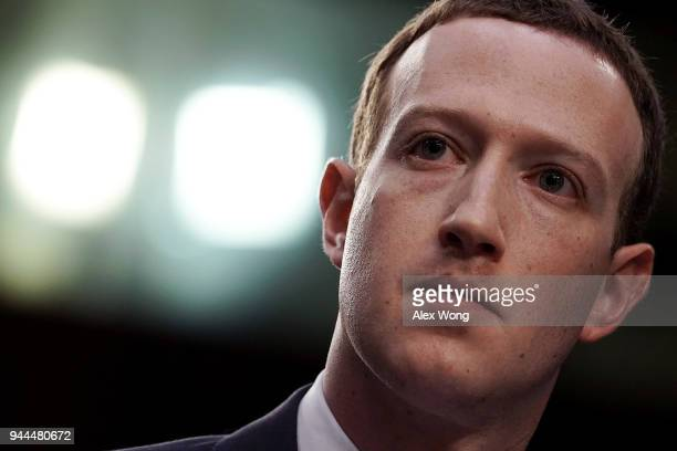 Facebook co-founder, Chairman and CEO Mark Zuckerberg testifies before a combined Senate Judiciary and Commerce committee hearing in the Hart Senate...