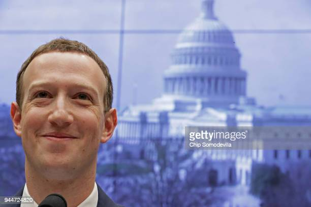 Facebook cofounder Chairman and CEO Mark Zuckerberg testifies before the House Energy and Commerce Committee in the Rayburn House Office Building on...