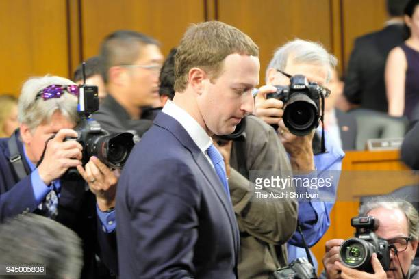 Facebook cofounder Chairman and CEO Mark Zuckerberg testifies before a combined Senate Judiciary and Commerce committee hearing in the Hart Senate...