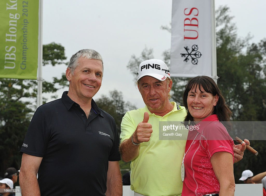 Facebook competition winners Lawrie Watson and Debbie Watson meet Miguel Angel Jimenez of Spain during the third round of UBS golf tournament the Hong Hong Open at Hong Kong Golf Club on November 17, 2012 in Hong Kong.