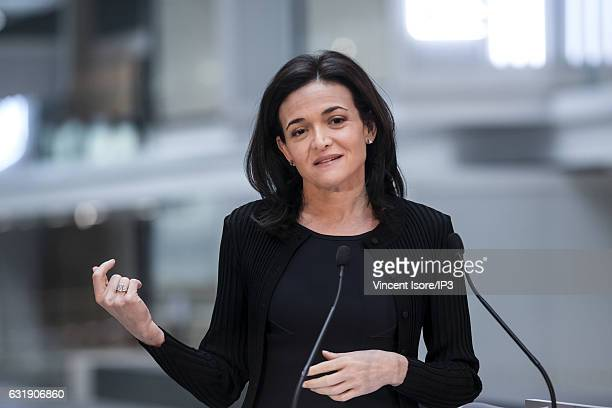 Facebook COO Sheryl Sandberg delivers a speech in order to announce that Facebook will hold a plan to support startups at the future startup...