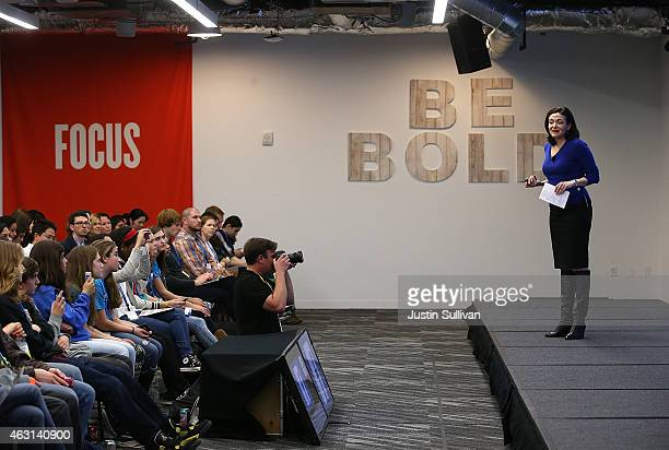 Facebook COO Sheryl Sandberg speaks during a Safer Internet Day event at Facebook headquarters on February 10 2015 in Menlo Park California...