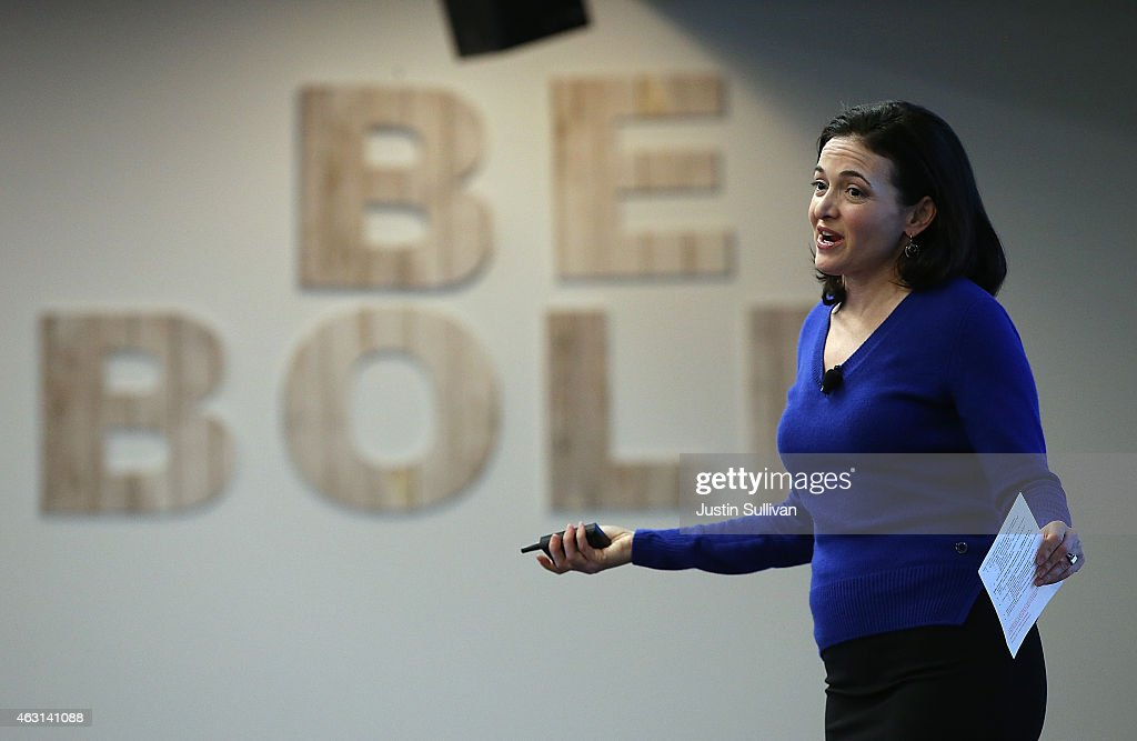 Facebook COO Sheryl Sandberg speaks during a Safer Internet Day event at Facebook headquarters on February 10, 2015 in Menlo Park, California. California Attorney General Kamala Harris delivered the keynote speech at a Safer Internet Day event that is designed to promote safe, effective use of the internet and mobile technology. Safer Internet Day is celebrated in over 100 countries on the the second Tuesday in February.
