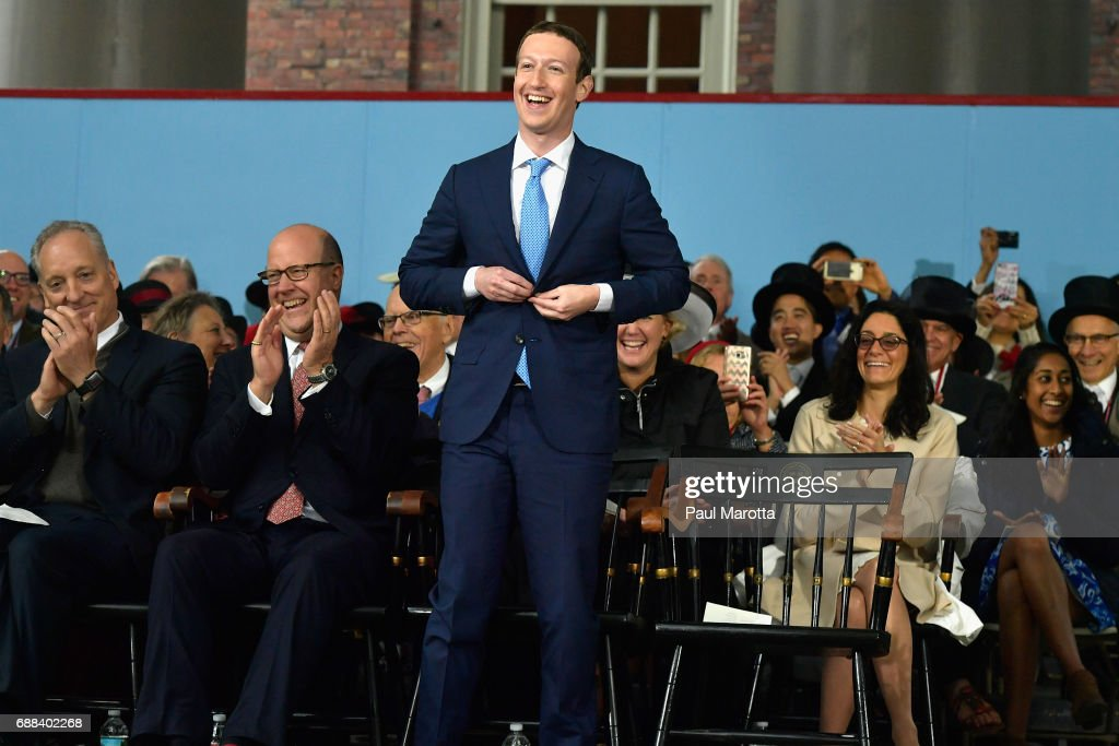 Facebook Founder and CEO Mark Zuckerberg attends the commencement address at the Alumni Exercises at Harvard's 366th commencement exercises on May 25, 2017 in Cambridge, Massachusetts. Zuckerberg studied computer science at Harvard before leaving to move Facebook to Paolo Alto, CA. He returned to the campus this week to his former dorm room and live streamed his visit.