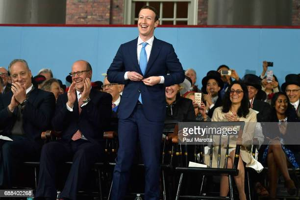 Facebook Founder and CEO Mark Zuckerberg attends the commencement address at the Alumni Exercises at Harvard's 366th commencement exercises on May 25...