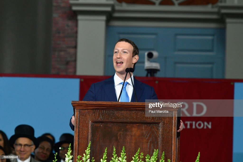 Facebook Founder and CEO Mark Zuckerberg delivers the commencement address at the Alumni Exercises at Harvard's 366th commencement exercises on May 25, 2017 in Cambridge, Massachusetts. Zuckerberg studied computer science at Harvard before leaving to move Facebook to Paolo Alto, CA. He returned to the campus this week to his former dorm room and live streamed his visit.