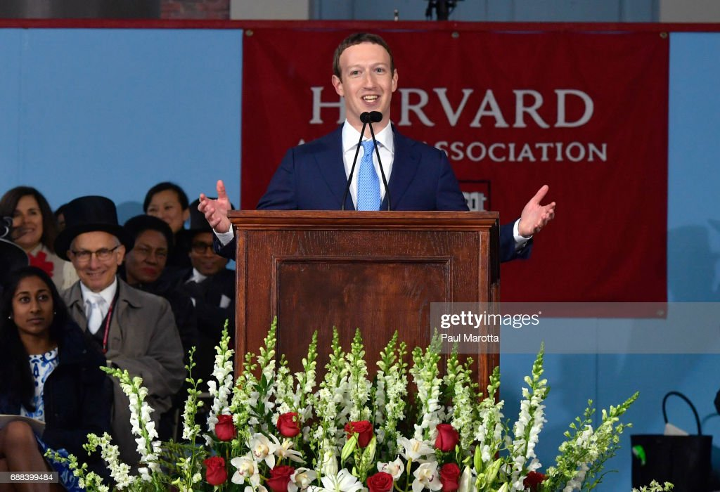 Facebook Founder Mark Zuckerberg Delivers Commencement Address At Harvard : News Photo