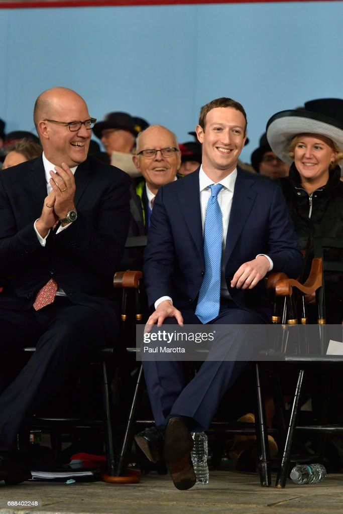Facebook Founder and CEO Mark Zuckerberg delivers the commencement