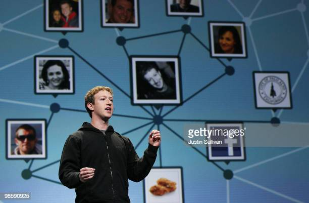 Facebook founder and CEO Mark Zuckerberg delivers the opening keynote address at the f8 Developer Conference April 21, 2010 in San Francisco,...