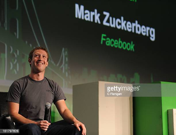 Facebook Founder and CEO Mark Zuckerberg speaks during the TechCrunch Conference at SF Design Center on September 11 2012 in San Francisco California