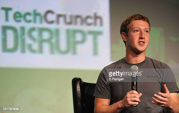 Facebook Founder and CEO Mark Zuckerberg speaks during the TechCrunch Conference at SF Design Center on September 11, 2012 in San Francisco,...