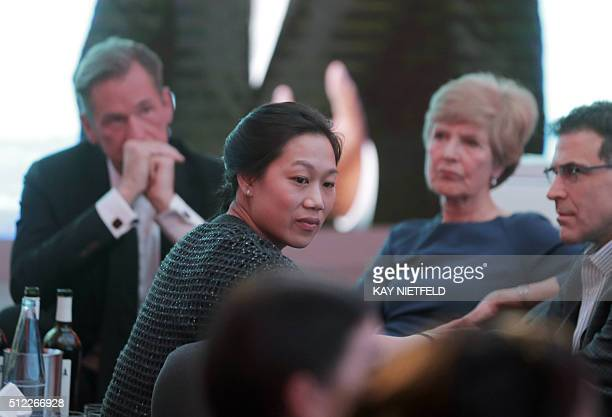 Facebook founder and CEO Mark Zuckerberg's wife Priscilla Chan attends the Axel Springer Award for the Facebook CEO in Berlin on February 25 2016...