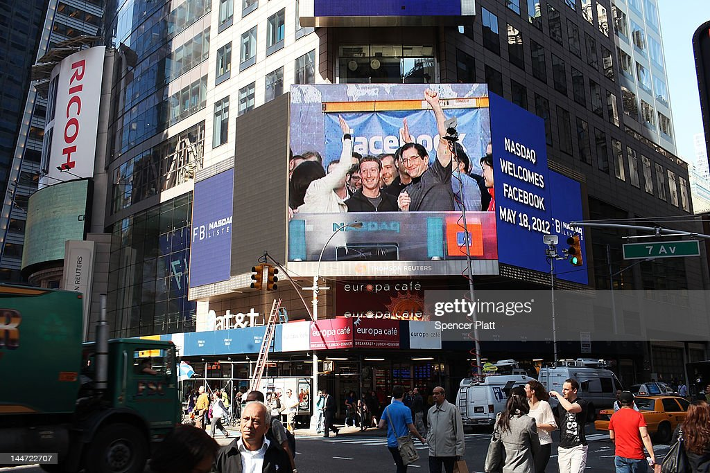 Facebook founder Mark Zuckerberg is seen on a screen in Times Square moments after he rang the Opening Bell for the Nasdaq stock market board from Menlo Park on May 18, 2012 in New York, United States. The social network site is set to begin trading at roughly 11:00 a.m. ET and on Thursday priced 421 million shares at $38 each. Facebook, a Menlo Park, California based company, will have a valuation exceeding $100 billion.