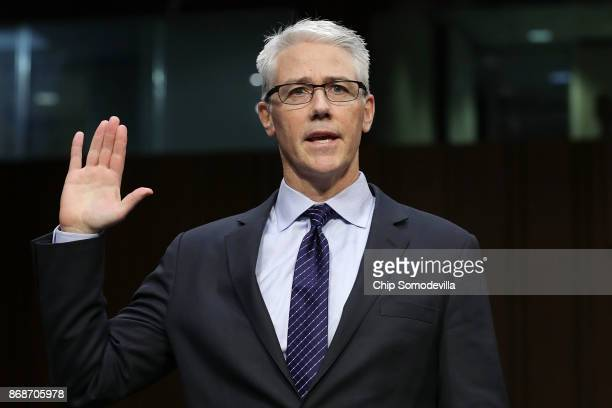 Facebook General Counsel Colin Stretch is sworn in before the Senate Judiciary Committee's Crime and Terrorism Subcommittee in the Hart Senate Office...