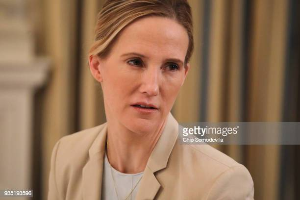 Facebook Head of Global Safety Antigone Davis speaks during a roundtable discussion on cyber safety and technology hosted by US first lady Melania...
