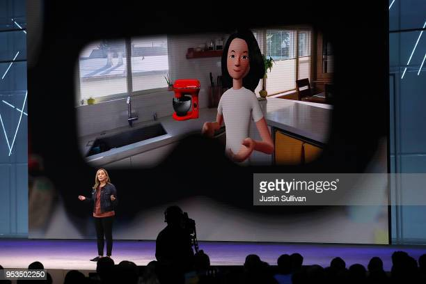 Facebook head of social VR Rachel Franklin speaks during the F8 Facebook Developers conference on May 1 2018 in San Jose California Facebook CEO Mark...