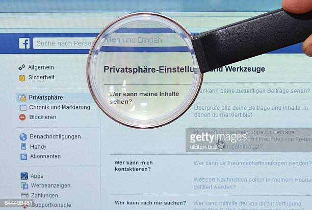 Facebook homepage Privatsphaere Bildschirm Lupe / Privatsphäre