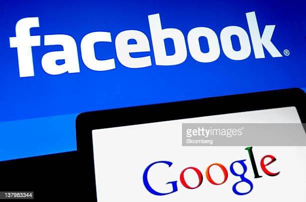 Facebook Inc and Google Inc logos are displayed on computer screens in this arranged photo in New York US on Monday Jan 30 2012 A Facebook IPO would...