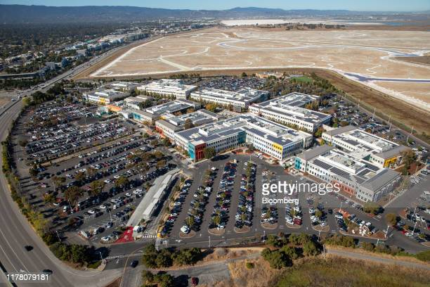 Facebook Inc. Headquarters stands in this aerial photograph taken above Menlo Park, California, U.S., on Wednesday, Oct. 23, 2019. Facebookis...