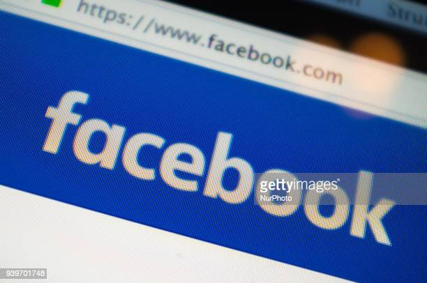 A Facebook Inc logo is pictured on a desktop computer's display Milan on March 29 2018 Facebook Incs cofounder and chief executive officer Mark...