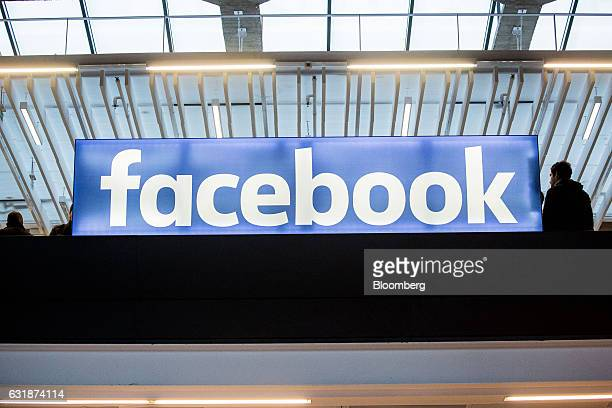 A Facebook Inc logo sits on display at Station F a megacampus for startups located inside a former freight railway depot in Paris France on Tuesday...