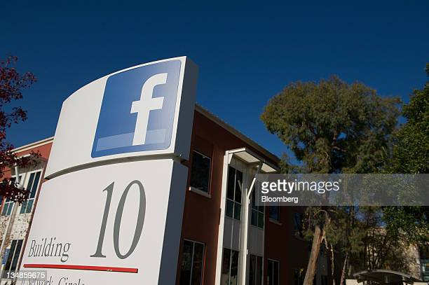 Facebook Inc. Signage is displayed outside the company's new campus in Menlo Park, California, U.S., on Friday, Dec. 2, 2011. Facebook hopes to...