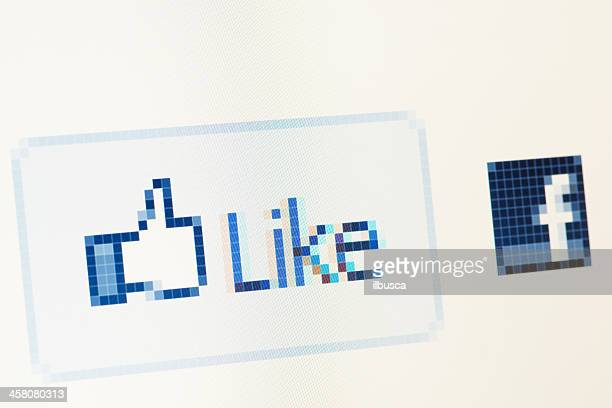 facebook like button macro close-up on rgb monitor - like button stock photos and pictures
