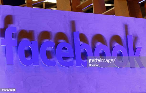 Facebook logo is displayed during the Viva Technology show on June 30 2016 in Paris France Viva Technology Startup Connect the new international...