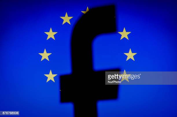 A Facebook logo is seen in front of an EU flag on a computer screen in this photo illustration on November 20 2017