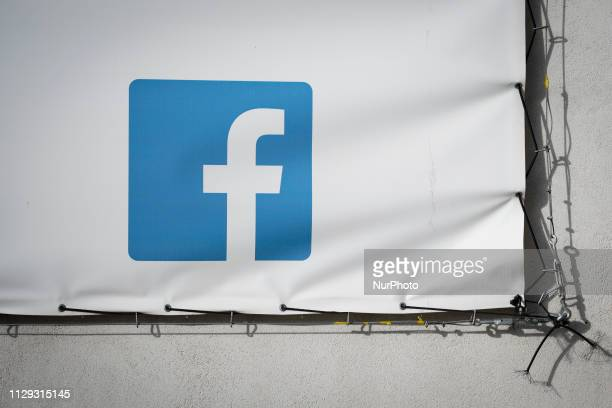 A Facebook logo is seen on a banner in Bydgozcz Poland on March 8 2019